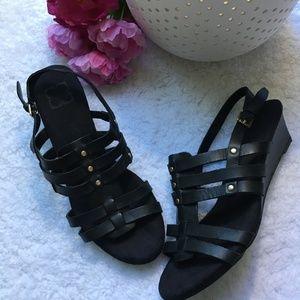 Liz Claiborne Black wedge sandals 10 M